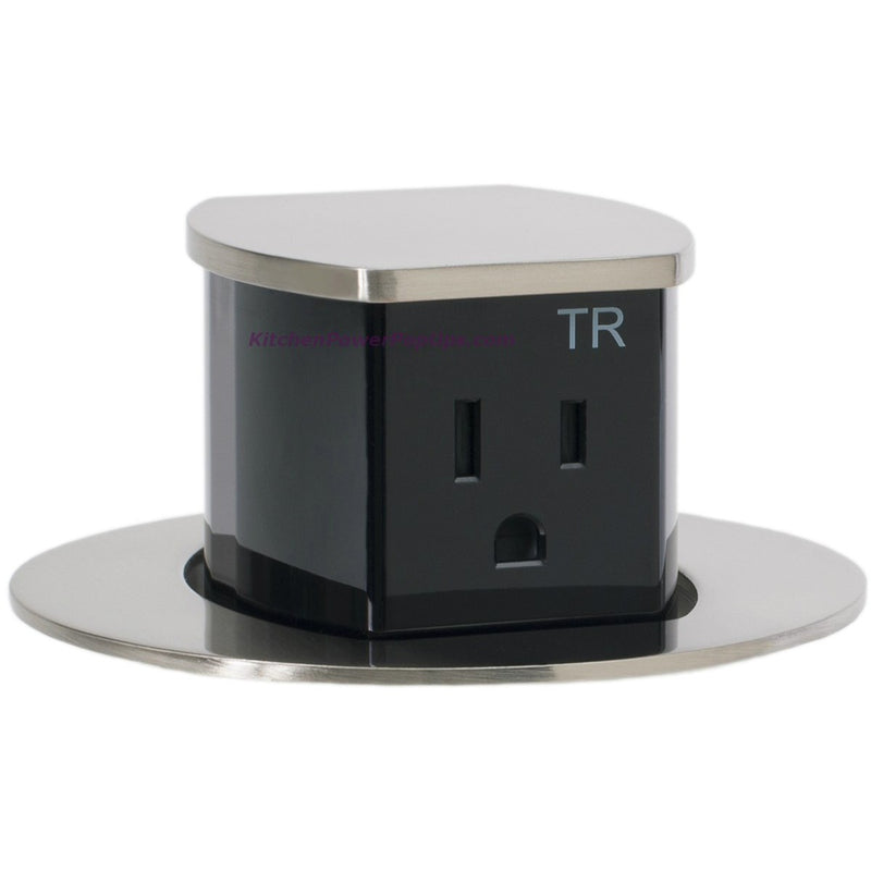Countertop Pop Up 2 Sided Spill Proof Power Outlet, Flush Mount, Nickel