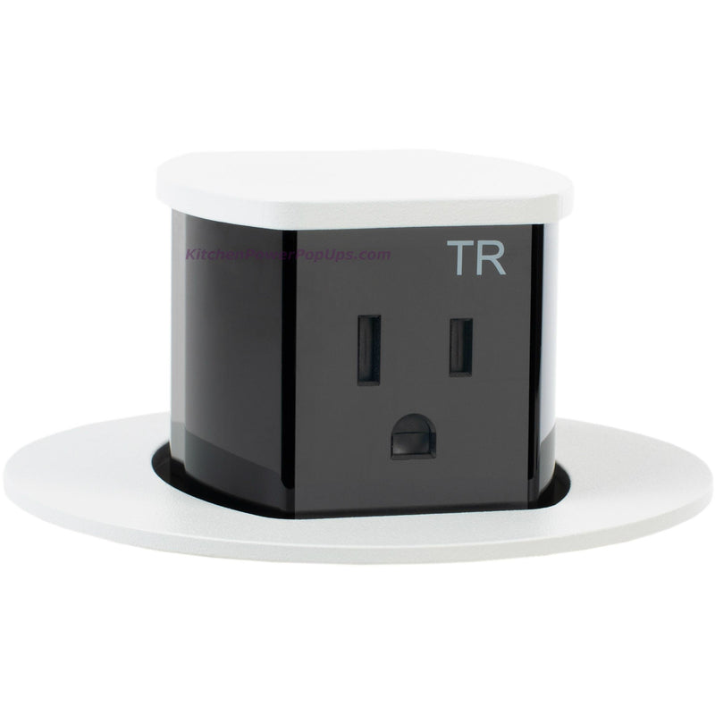 Hubbell RCT201W Waterproof Pop Up Flush Mount Counter Outlet - Powder Coat White - Popped Up
