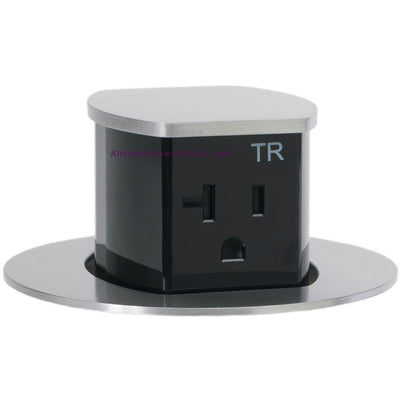 RCT221ALU Waterproof Pop Up Flush Mount 20A Counter Outlet - Aluminum