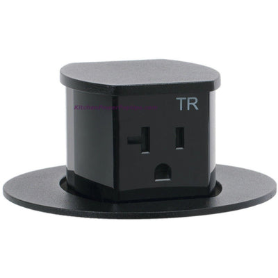 RCT221BK Waterproof Pop Up Flush Mount 20A Counter Outlet - Black