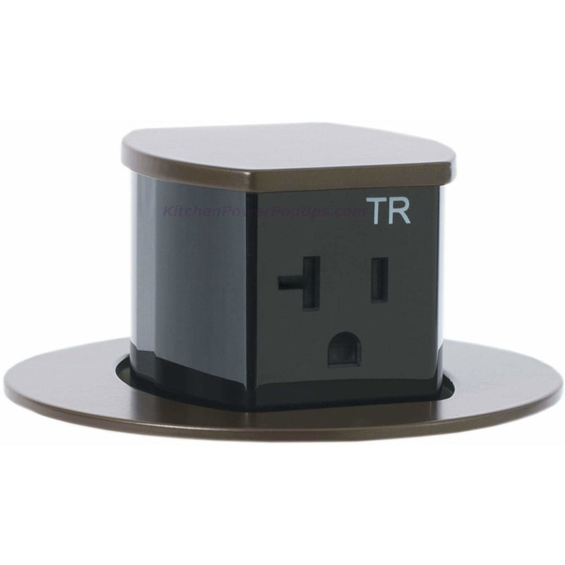 RCT221BZE Waterproof Pop Up Flush Mount 20A Counter Outlet - Brown