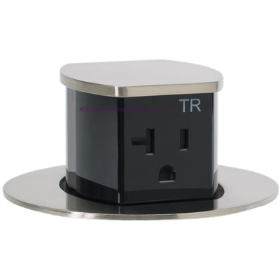 RCT221NI Waterproof Pop Up Flush Mount 20A Counter Outlet - Nickel