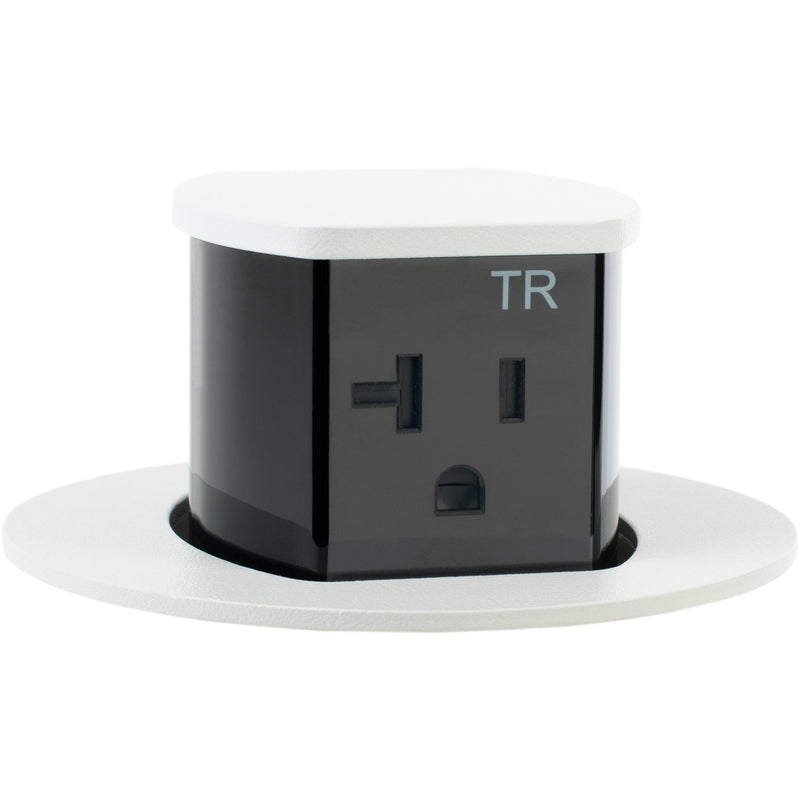 RCT221W Waterproof Pop Up Flush Mount 20A Counter Outlet - Gloss White