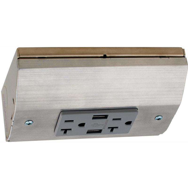 Hubbell RU200SS20AUSB Under Cabinet Power 20A USB Box Stainless