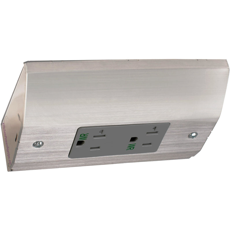 RU100SS20A Under Cabinet Slim Power Box, 20A Duplex Outlet - Stainless