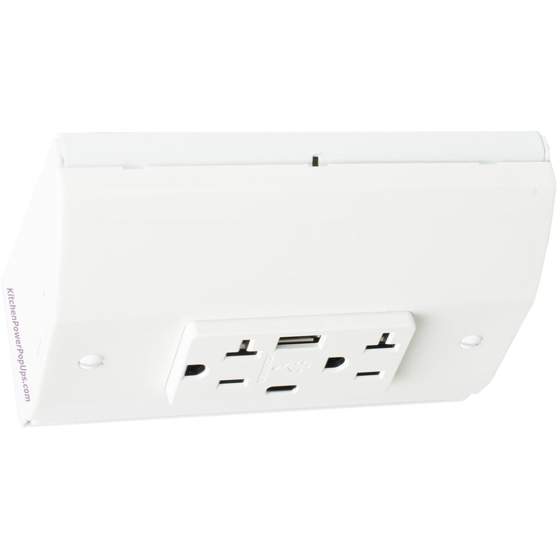 Under Cabinet White Power Strip Box with USB-A and USB-C Charging