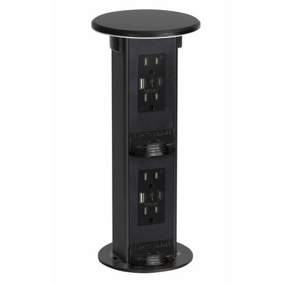 Countertop 2-Step Pop Up, 4 Power, 4 USB-A/C Charging Ports, Black