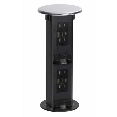 Countertop 2-Step Pop Up, 4 Power, 4 USB-A/C Charging Ports, Stainless