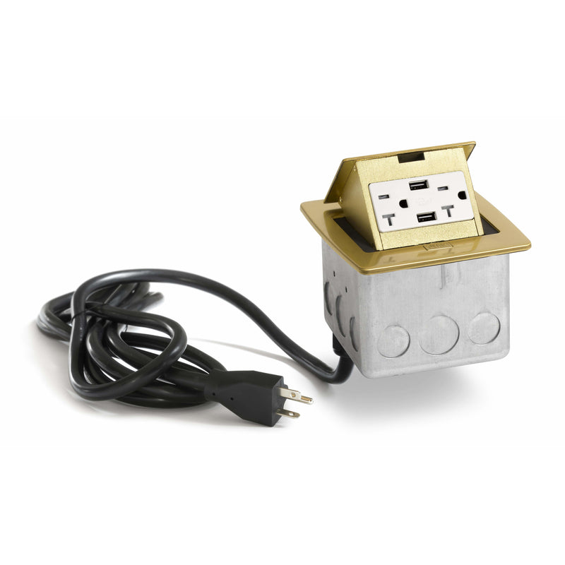 PUFP-CT-B-20A-2USB-WC Kitchen Pop Up 20A USB Outlet, Brass - Showing Cord