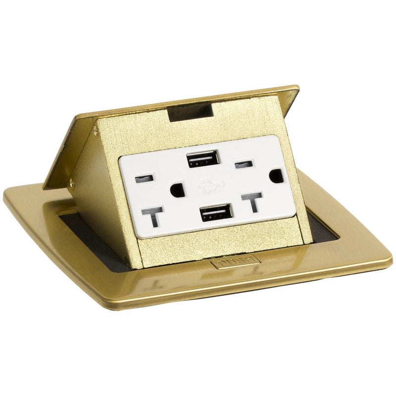 Lew Electric PUFP-CT-B-20A-2USB Kitchen Pop Up Power Outlet Brass 20A USB Showing Top Only