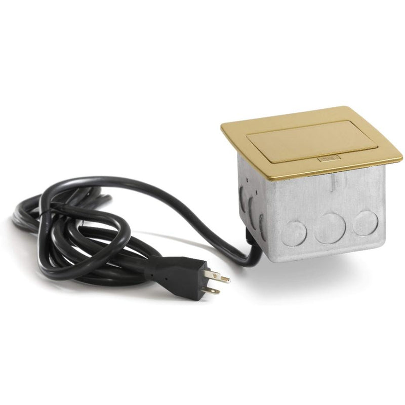 PUFP-CT-B-WC Kitchen Counter Pop Up 20A GFI Outlet, Corded Plug, Brass - Closed Showing Cord