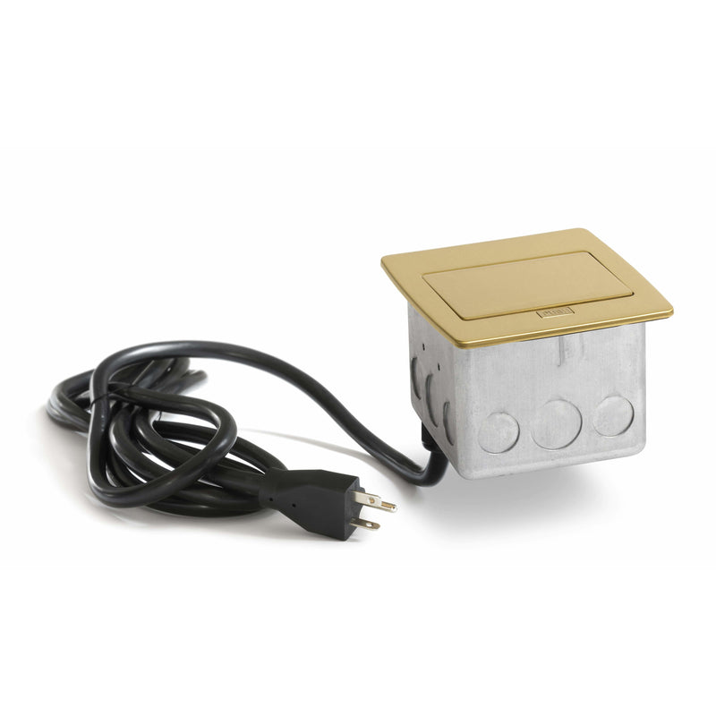 PUFP-CT-B-20A-2USB-WC Kitchen Pop Up 20A USB Outlet, Brass - Closed Showing Cord