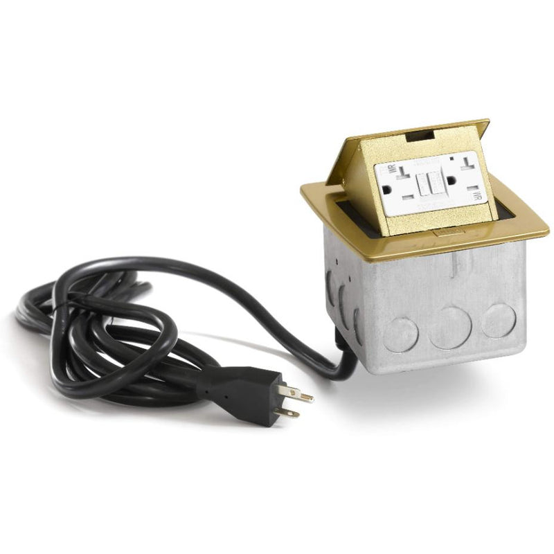 PUFP-CT-B-WC Kitchen Counter Pop Up 20A GFI Outlet, Corded Plug, Brass