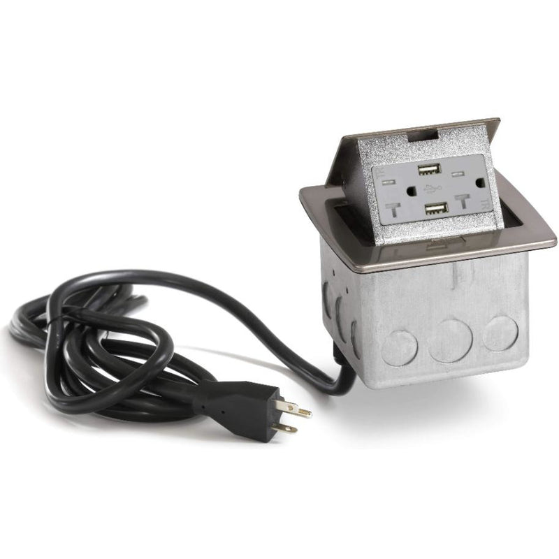 PUFP-CT-NS-20A-2USB-WC Kitchen Pop Up 20A USB Corded Outlet, Nickel