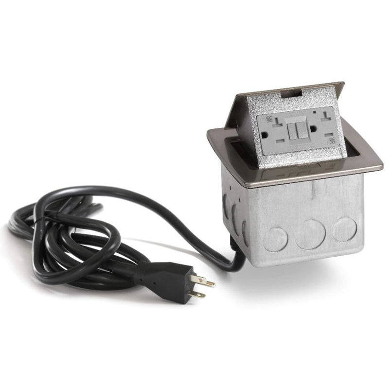 PUFP-CT-NS-WC Countertop Pop Up 20A GFI Outlet, Corded Plug, Nickel