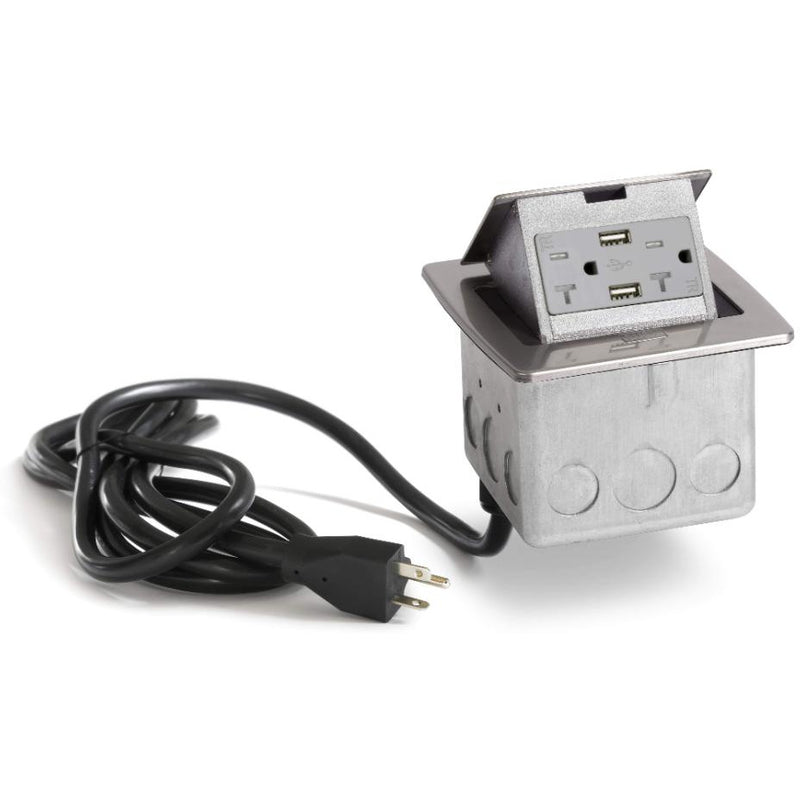 PUFP-CT-SS-20A-2USB-WC Kitchen Pop Up 20A USB Outlet, Stainless - Showing Cord