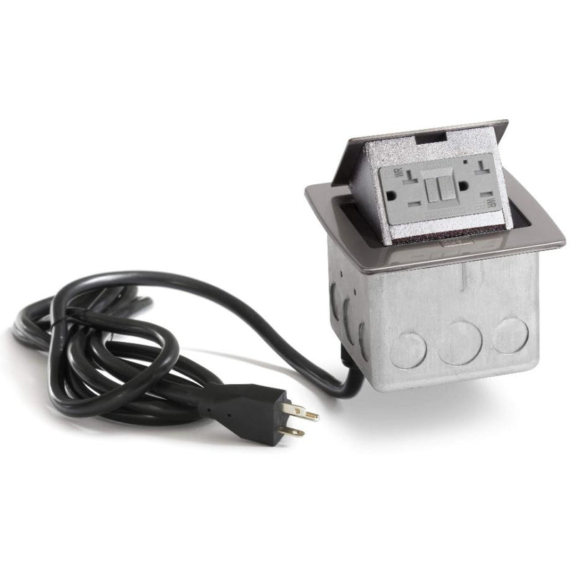 PUFP-CT-SS-WC Kitchen Pop Up 20A GFI Outlet, Corded Plug, Stainless