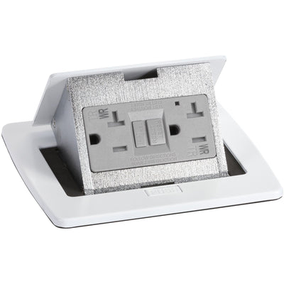 Lew Electric PUFP-CT-WT White Countertop Pop Up Outlet