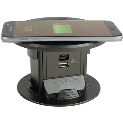 Kitchen Countertop Charging Station, USB-A, USB-C, Wireless Charging Top, Black