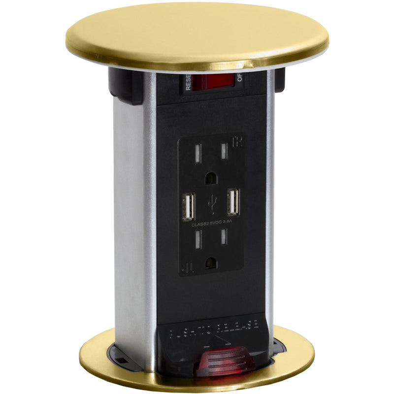 Lew Electric PUR15-B Brass 2 Power, 2 Charging USB, Kitchen Power Round Pop Up Outlet