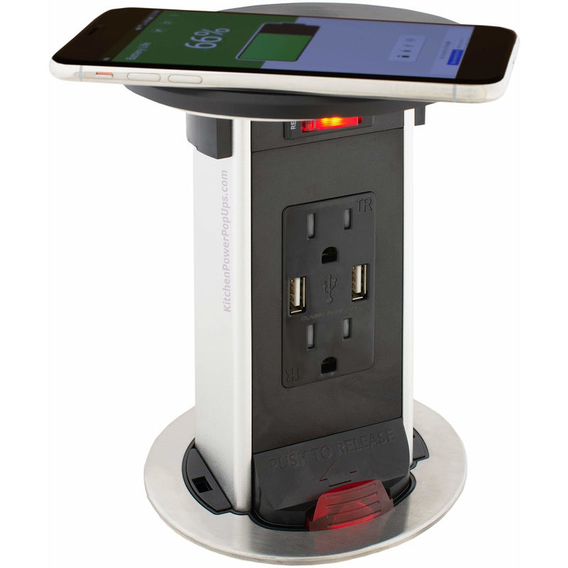 Exterior Pop Up Outlet: PUR15-RBK-2USB-QI Counter Pop Up 15A USB, Wireless
