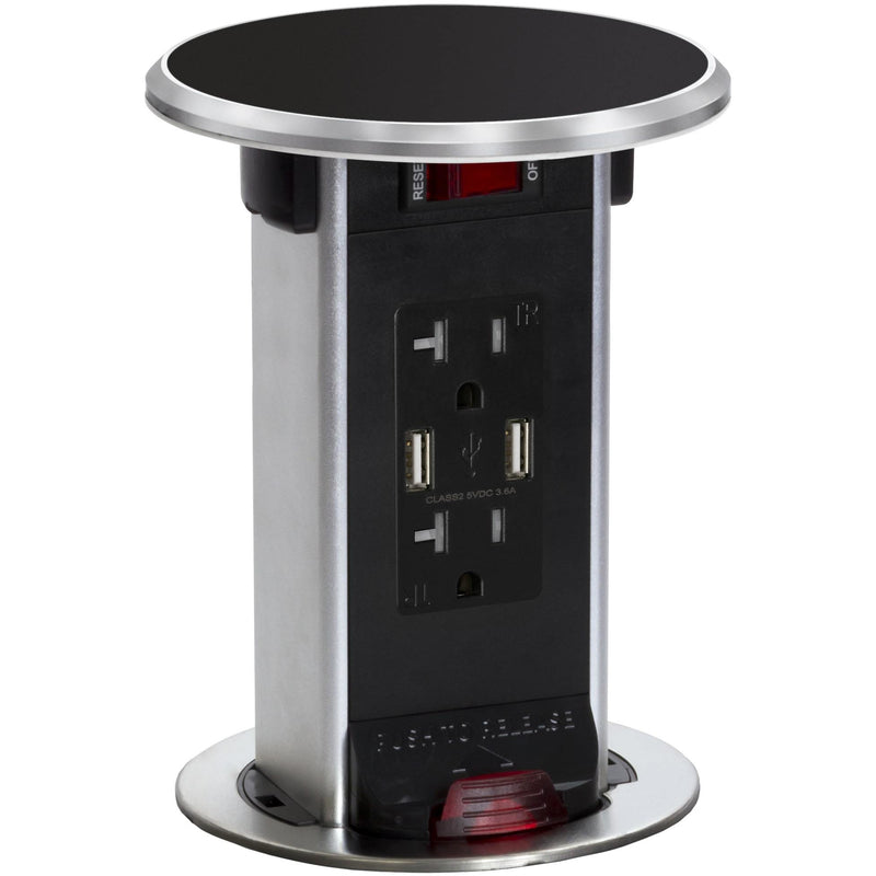Lew Electric PUR20-BK-USB Black 2 Power 20A, 2 Charging USB, Kitchen Power Round Pop Up Outlet