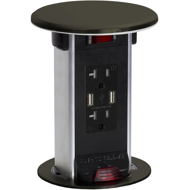 Lew Electric PUR20-DB-USB Dark Bronze 2 Power 20A, 2 Charging USB, Kitchen Power Round Pop Up Outlet
