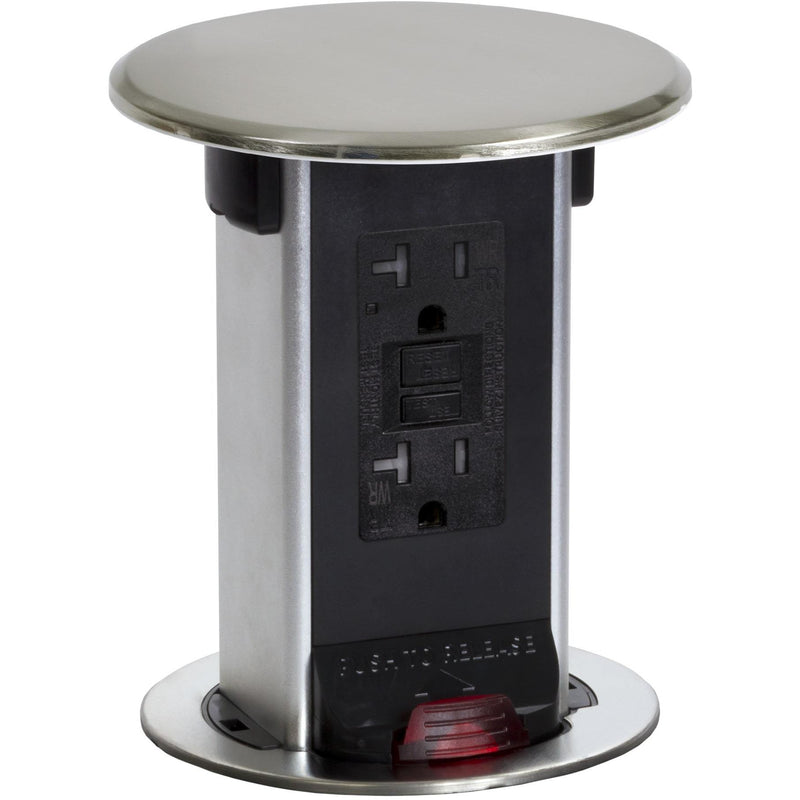 Lew Electric PUR20-NS Kitchen Power Pop Up with 20A GFCI Outlet in Nickel Top