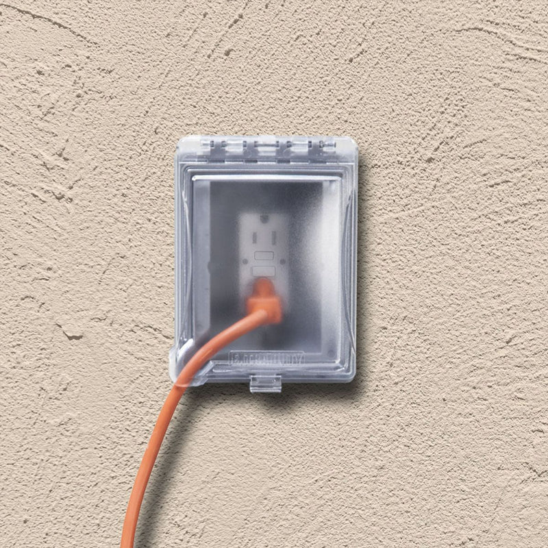 TayMac MR420CG Outdoor Weatherproof In-Use Recessed Wall Outlet Enclosure, Gray, installed in stucco wall