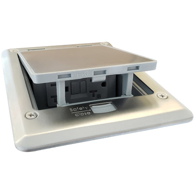 Outdoor Countertop Waterproof Pop Up Stainless Steel Power Box, Push Button