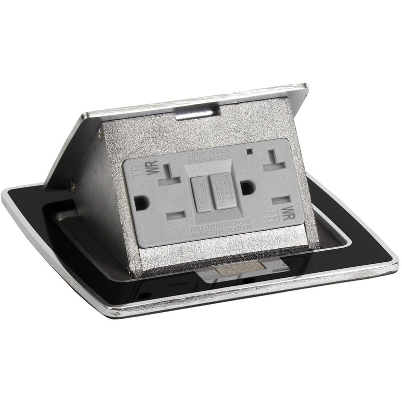 Lew Electric PUFP-CT-BKC 20A GFI Black Kitchen Pop Up Outlet Top Only
