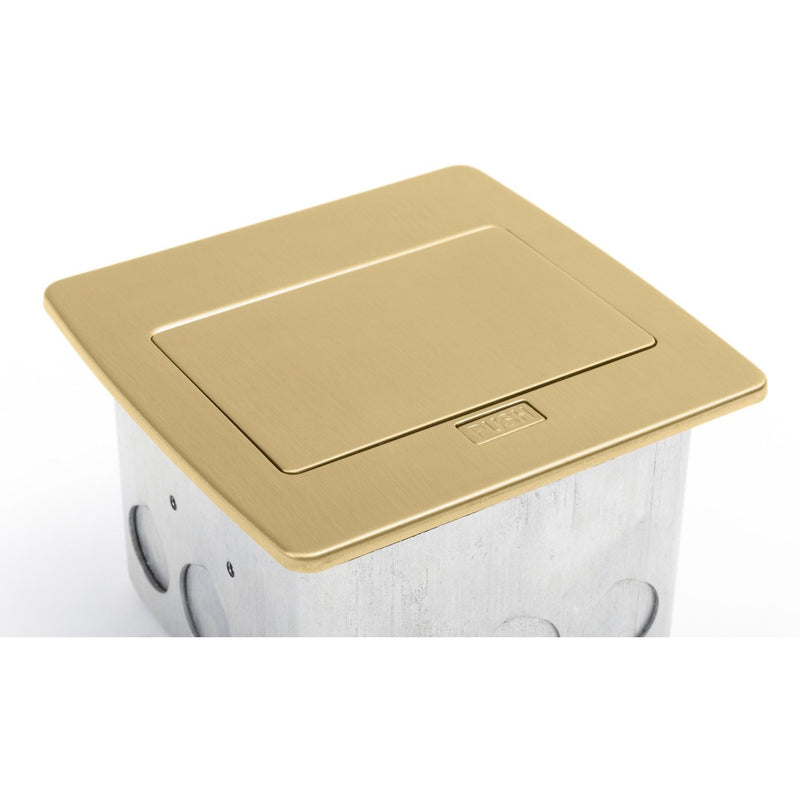 PUFP-CT-B-20A-2USB-WC Kitchen Pop Up 20A USB Corded Outlet, Brass - Top Closed