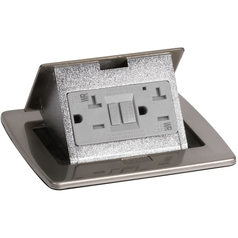 Kitchen Countertop Pop Up 20A GFI Protected Power Outlet, Nickel