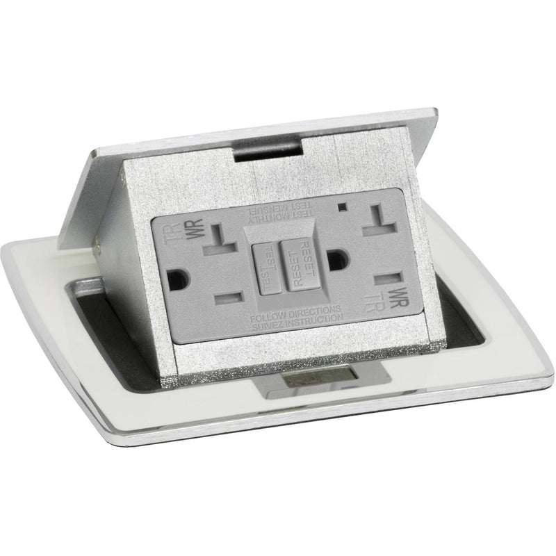 PUFP-CT-OW-WC Kitchen Pop Up 20A GFI Counter Outlet Corded Plug, White - Top Only