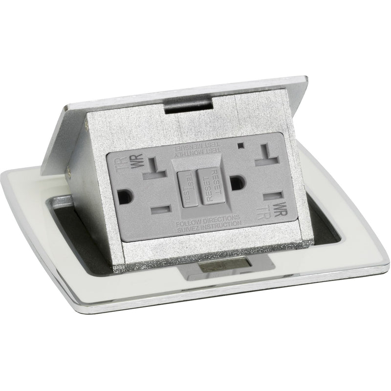 Lew Electric PUFP-CT-OW Kitchen Countertop Power with GFI Pop Up Outlet - Off White, Showing Top Only