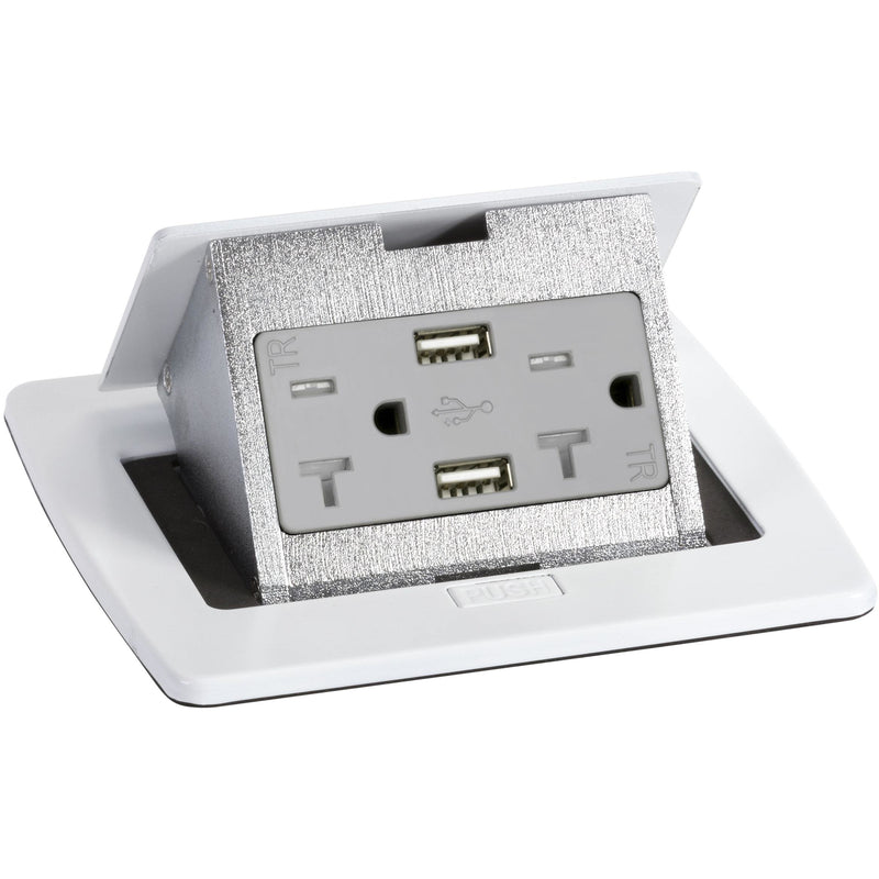 Lew Electric PUFP-CT-WT-20A-2USB White Countertop Pop Up Outlet