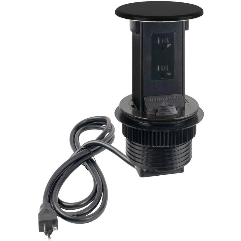 Lew Electric PUR15-BK-DS Countertop Waterproof Pop Up Outlet, Black, Showing Cord