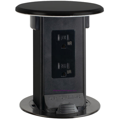 Lew Electric PUR15-BK-DS Countertop Waterproof Pop Up Outlet, Black