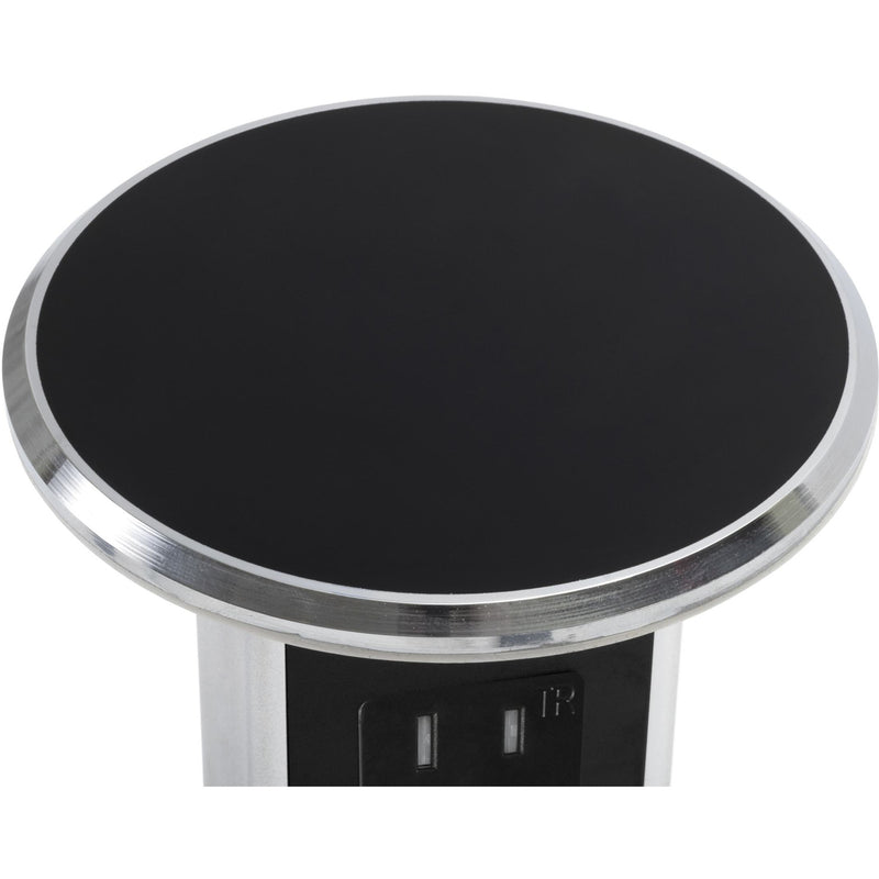Countertop Pop Up Quad 15A Power Charging USB-A, Black with Chrome Trim