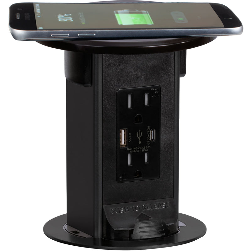 Countertop Pop Up Outlet, 15A USB-A/C, Wireless Charging, Black