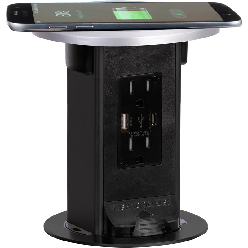 Countertop Pop Up Outlet, 15A USB-A/C, Wireless Charging, Stainless