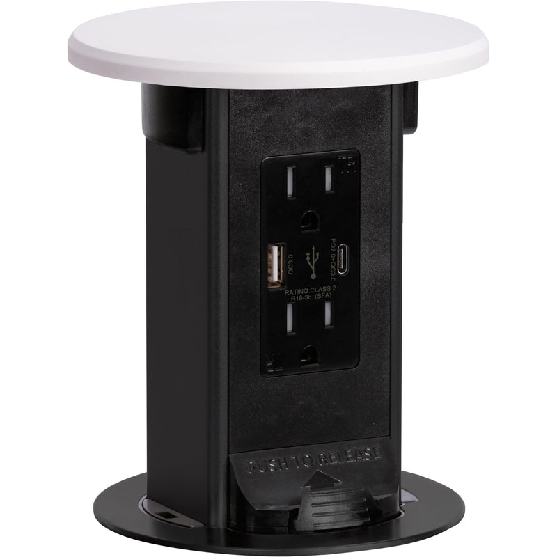 Countertop Pop Up Outlet, 15A USB-A/C, Wireless Charging, White