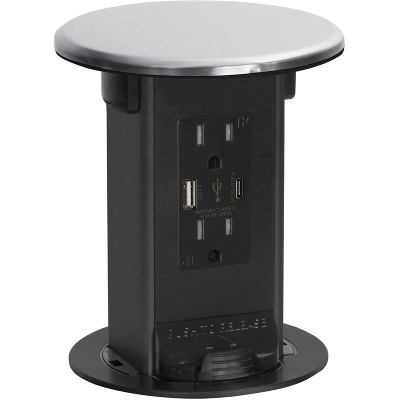 Lew Electric PUR15-S-AC-USB Pop Up Outlet, Stainless