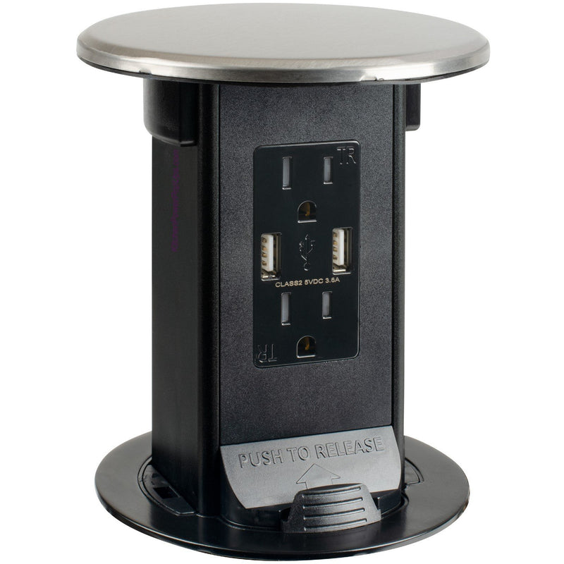 Lew Electric PUR15-S Stainless Steel 2 Power, 2 Charging USB, Kitchen Power Round Pop Up Outlet