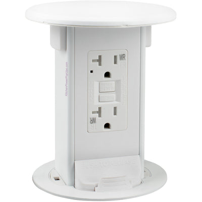 All White Countertop Pop Up GFCI Outlet