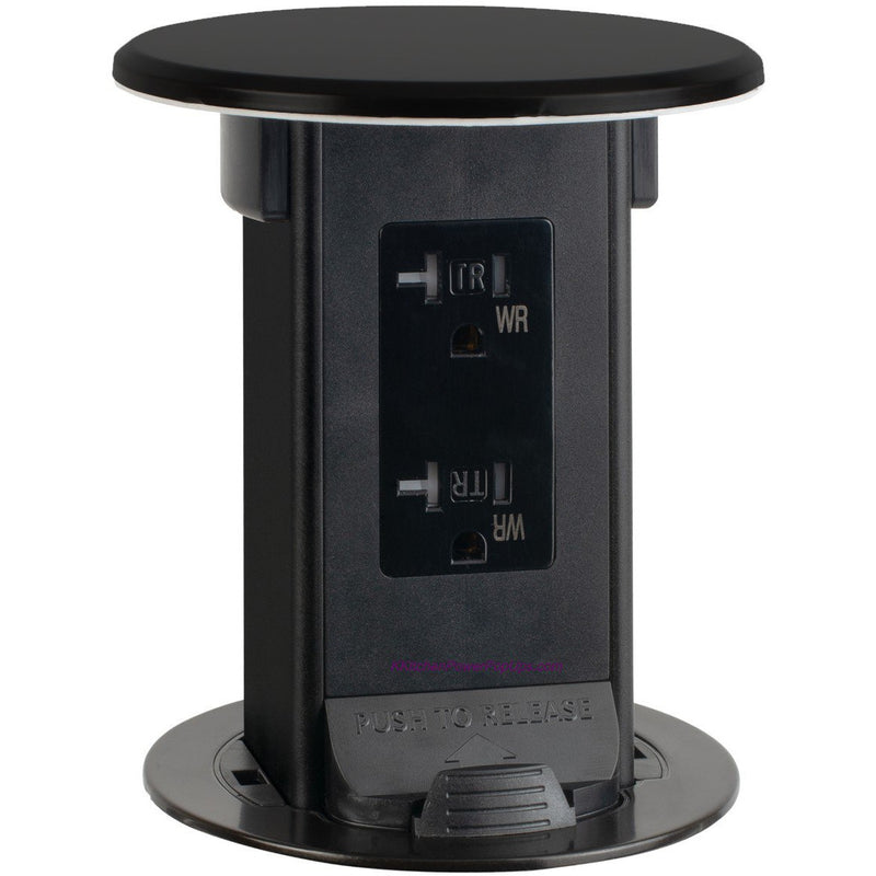 Lew Electric PUR20-BK-DS Countertop Waterproof Pop Up 20a Outlet Black