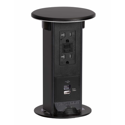 Lew Electric PUR20-BK-GFI-2USB-AC Pop Up Countertop Outlet, Black