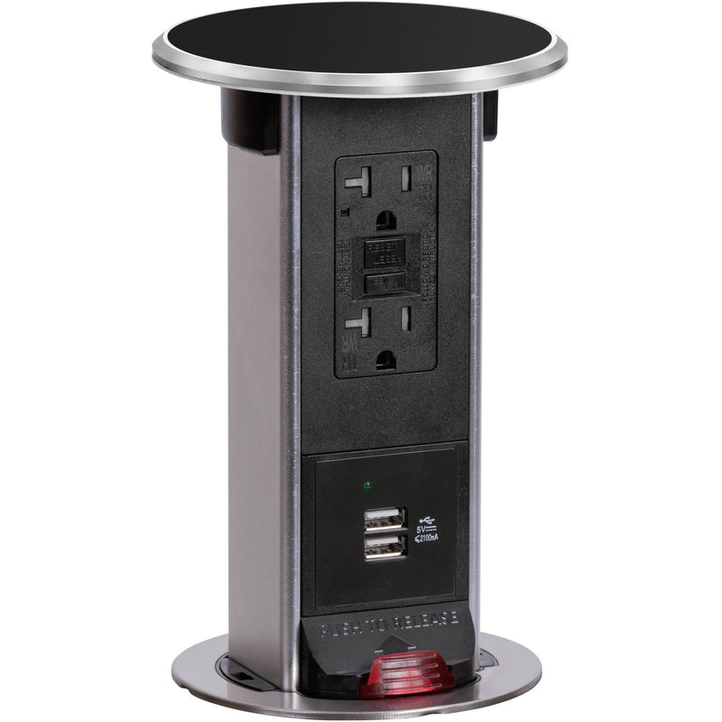 Lew Electric PUR20-BK-GFI-2USB Waterproof Pop Up 20A USB/GFI - Black