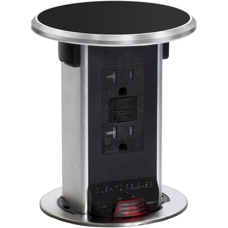 Lew Electric PUR20-BK Countertop 20A GFI Power Pop Up Outlet - Black