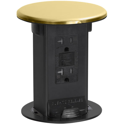 Lew Electric PUR20-B Countertop 20A GFI Power Pop Up Outlet - Brass